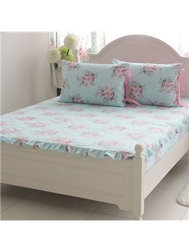 Fresh and Elegant Flowers Printed Cotton Fitted Sheet