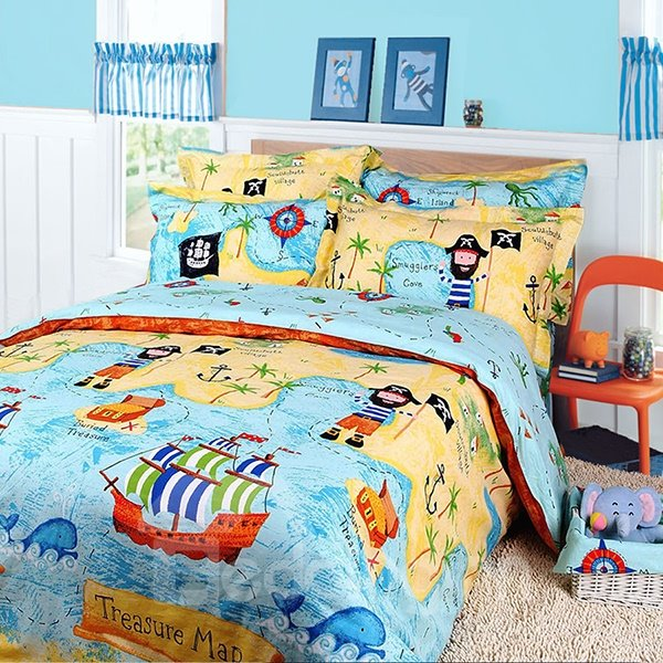 Pirate Ship And Map Print 3 Piece Cotton Duvet Cover Sets