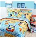 Pirate Ship and Map Print 3-Piece Cotton Duvet Cover Sets