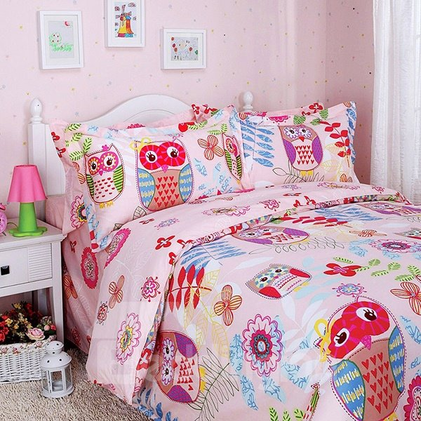 Owl and Flower Print 3-Piece Cotton Duvet Cover Sets