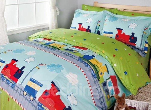 Little Train Print 3-Piece Cotton Duvet Cover Sets