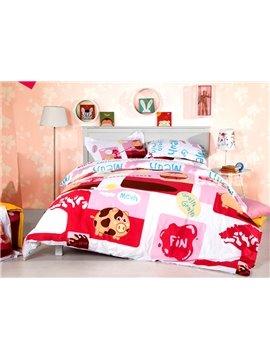 Lovable Pig Print 4-Piece Cotton Duvet Cover Sets