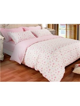 Pretty Pink Bowtie Print 3-Piece 100% Cotton Duvet Cover Sets
