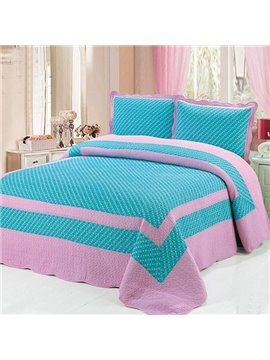 Simple and Beautiful Blue and Pink3-Piece Cotton Bed in a Bag Set