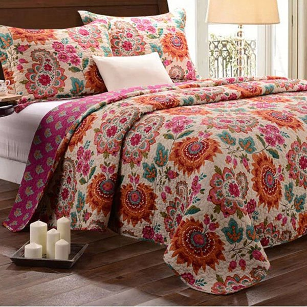 Bohemian Style Floral Print Patchwork Cotton Queen Size 3-Piece Bed in a Bag 11293488