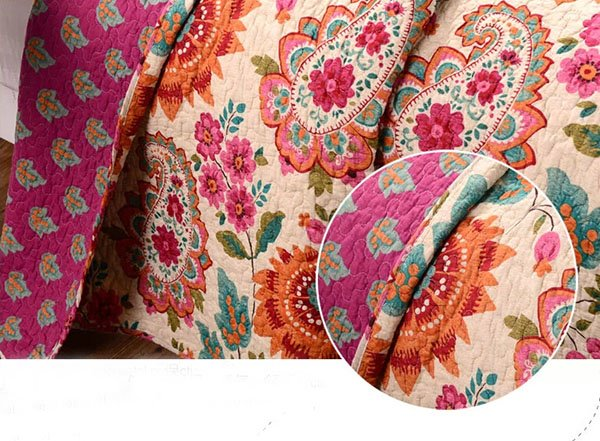 High Quality Western Style Beautiful Flowers Printed Cotton Bed in a Bag Set