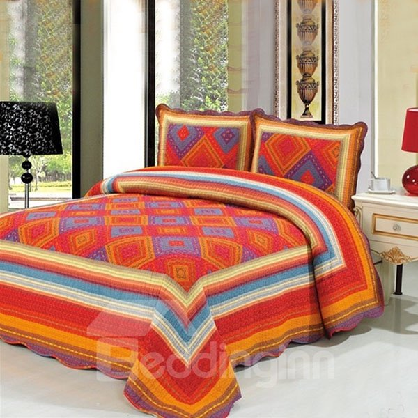 New Arrival Grid and Bright Color 3-Piece Cotton Bed in a Bag Set