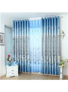 Fancy Blue Cute Plant Printing Grommet Top Curtain