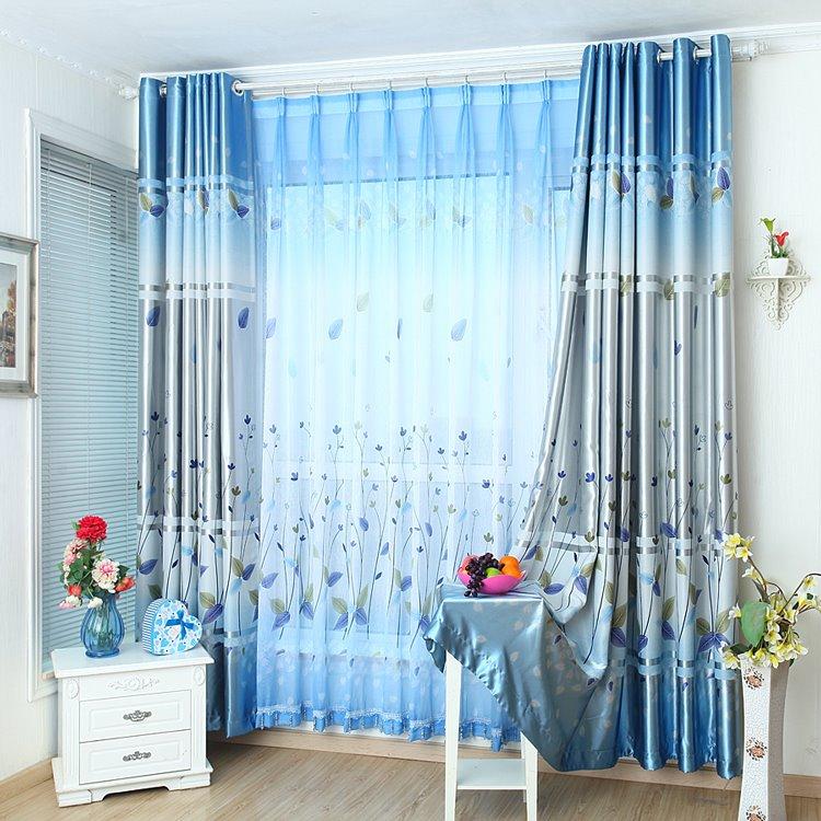 Fancy Blue Cute Plant Printing Grommet Top Curtain