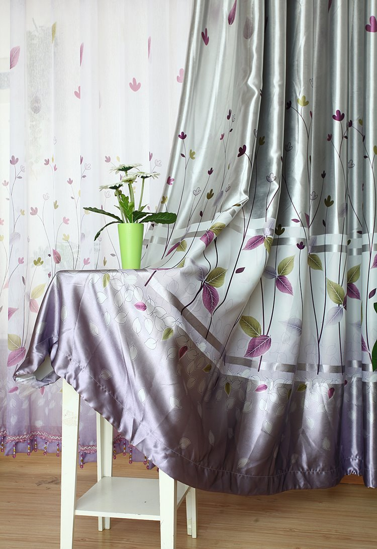 Silver Gray Cute Plant Printing Grommet Top Curtain
