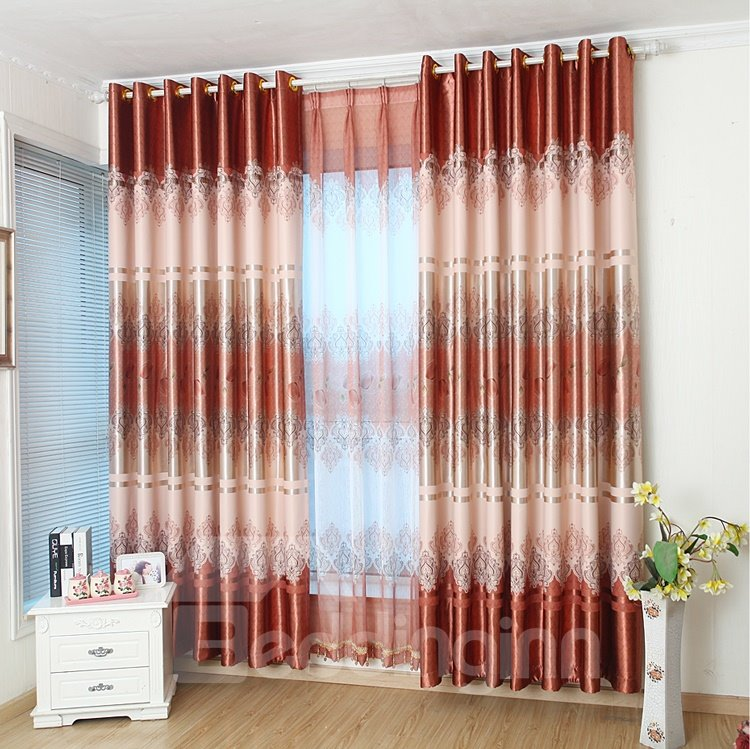 Charming Vibrant Tulip Coffee Color Grommet Top Curtain 11293985