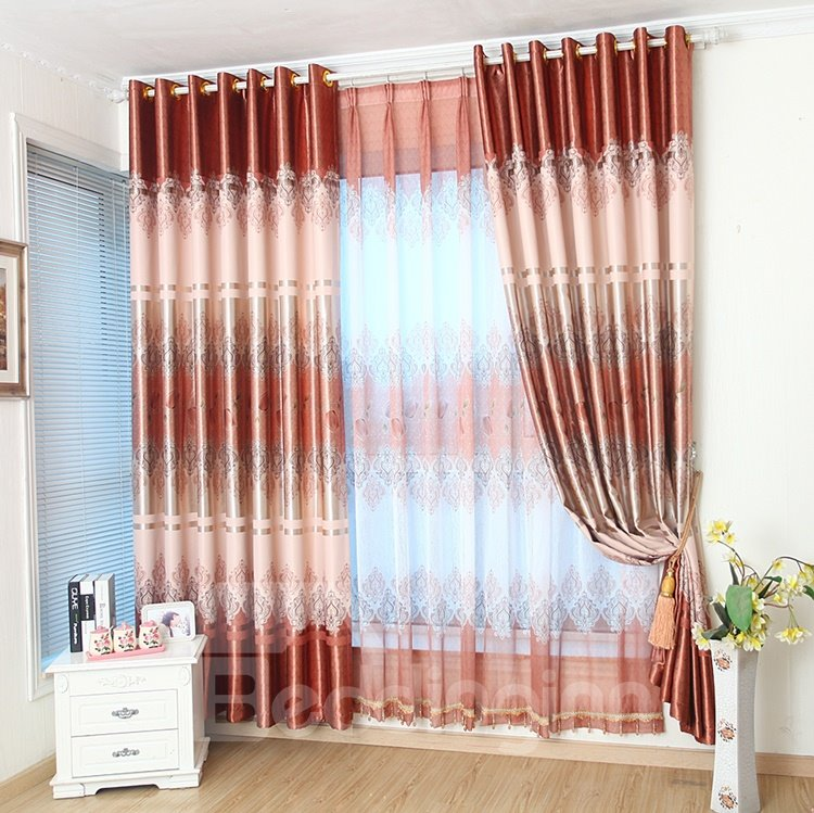 Charming Vibrant Tulip Coffee Color Grommet Top Curtain