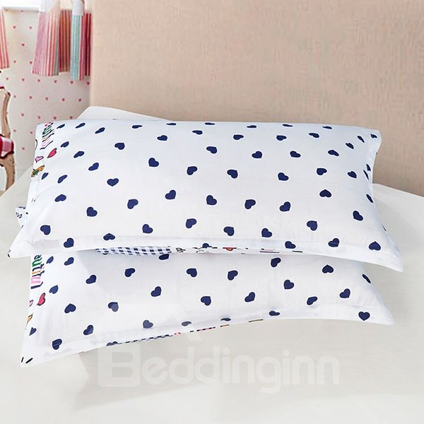 Lovely Hearts Printed One Pair Cotton Pillowcases