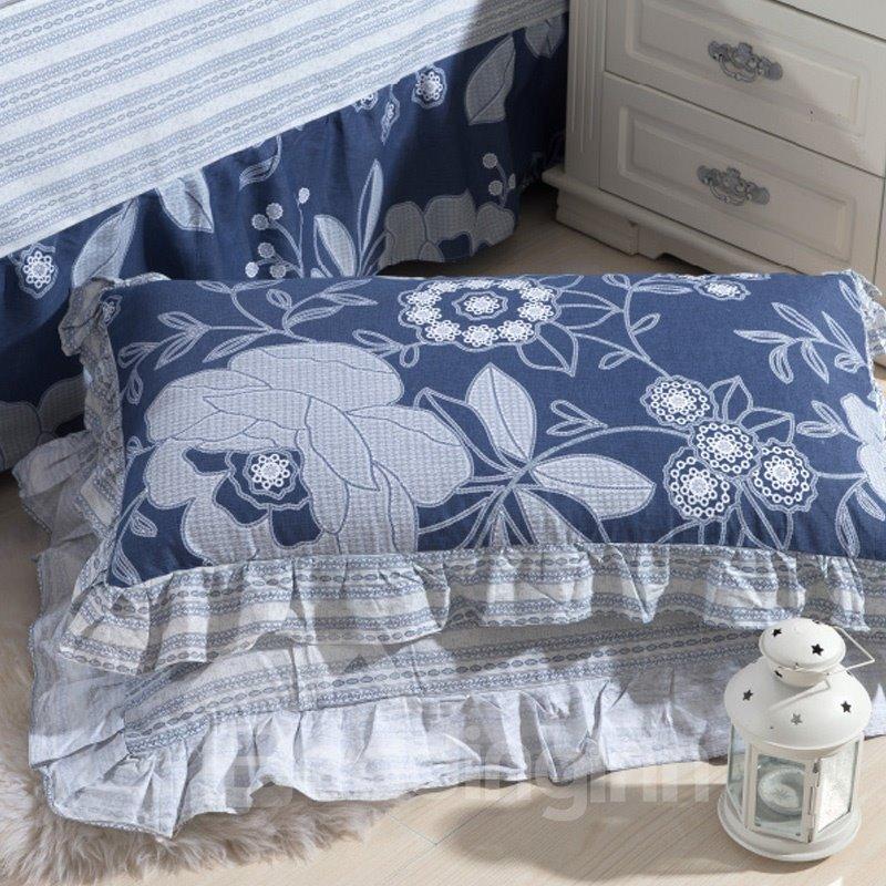 Elegant and Beautiful Flowers Printed One Pair Pillowcases