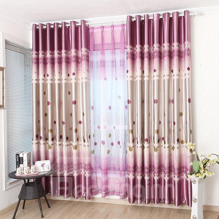 Cute Dandelion Design Pink Purple Color Scheme Grommet Top Curtain