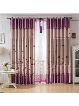 Heart Shape Balloon Design Pink Color Grommet Top Curtain