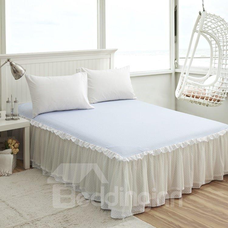 blue and white grid printed cotton bed skirt beddinginn