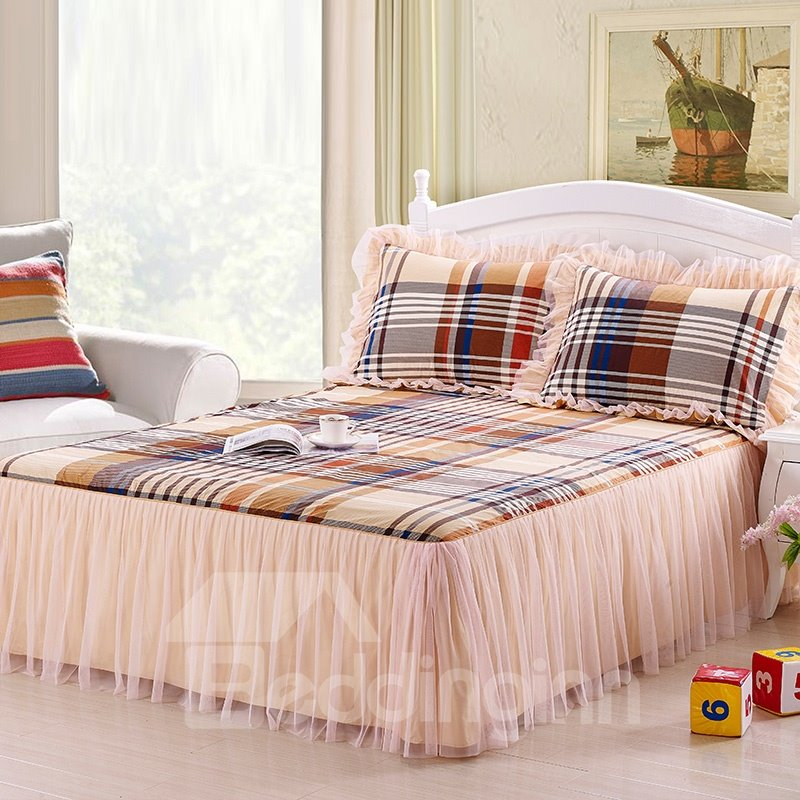 Classical Grid Lace Corner Cotton Bed Skirt