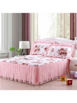 Beautiful Flowers Printed Lace Corner Cotton Bed Skirt