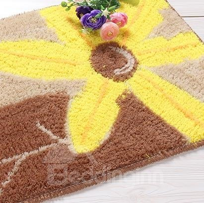 Fantastic Fibers Rectangular Yellow Flower Doormat