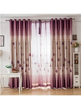 Purple Tree and Leaves Printing Grommet Top Curtain