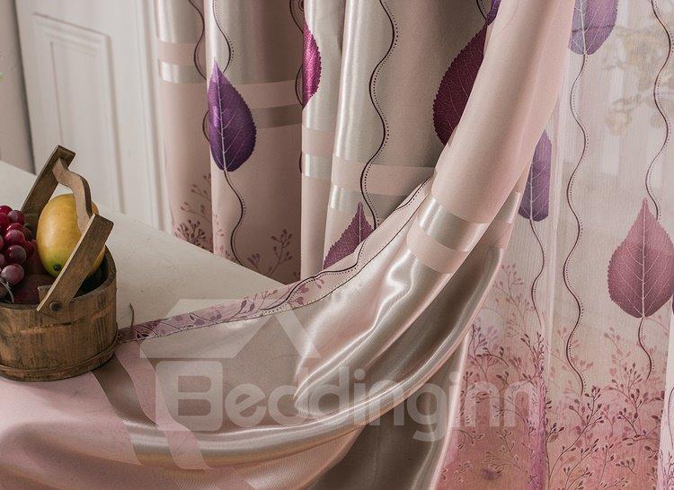 Purple Tree and Leaves Printing Grommet Top Curtain