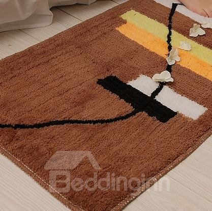 Classic Stripes and lines Coffee Non-Slip Doormat