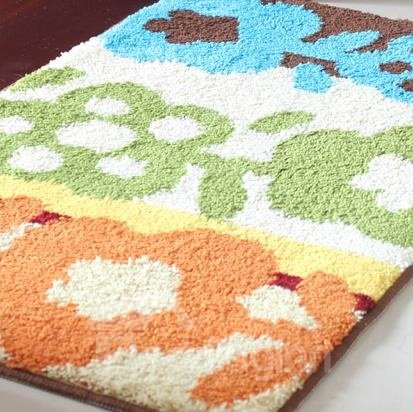 Pretty Orange Green Blue Three Colors Doormat