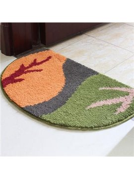 Popular Yellow and Green Leaf Semicircle Non-Slip Doormat