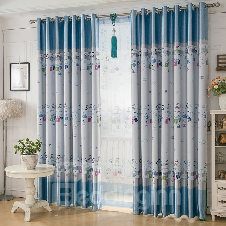 Cute Design Childlike Graphic Print Grommet Top Curtain