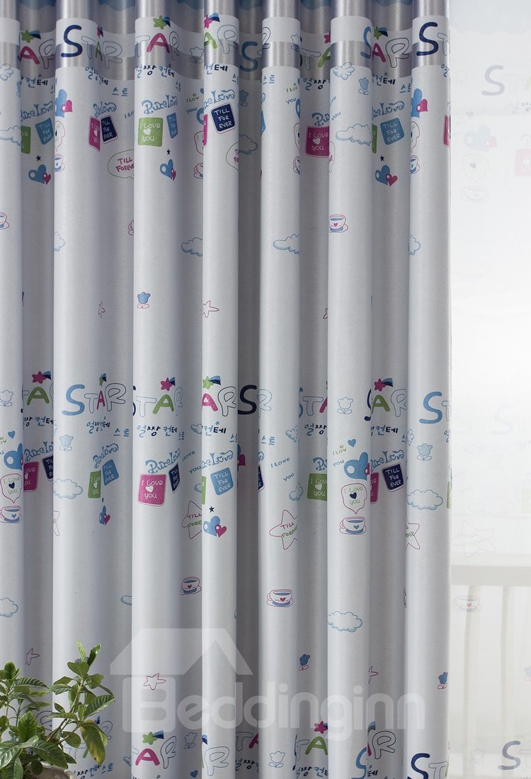 Cute Design Childlike Graphic Print Grommet Top Curtain
