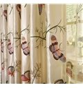 Luxury Butterfly and Tree Pattern Grommet Top Curtain