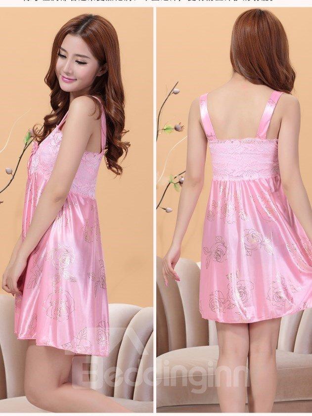 Comfy Lace Bust Wide Shoulder Straps Artificial Silk Chemise
