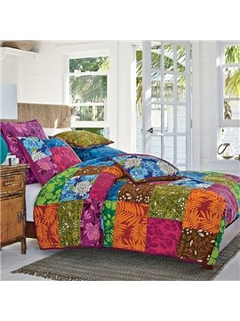 New Arrival Bright Color Countryside Pattern Bed in a Bag Set