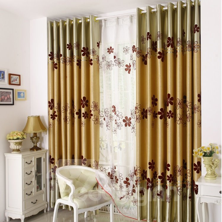 Cute Flower Print Golden Grommet Top Curtain