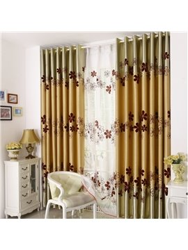 Cute Flower Print Golden Grommet Top Curtain
