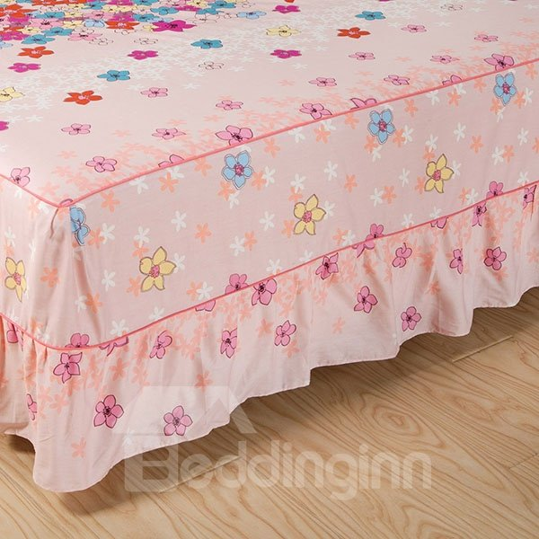 Lovely Little Flowers Printed Cotton Bed Skirt