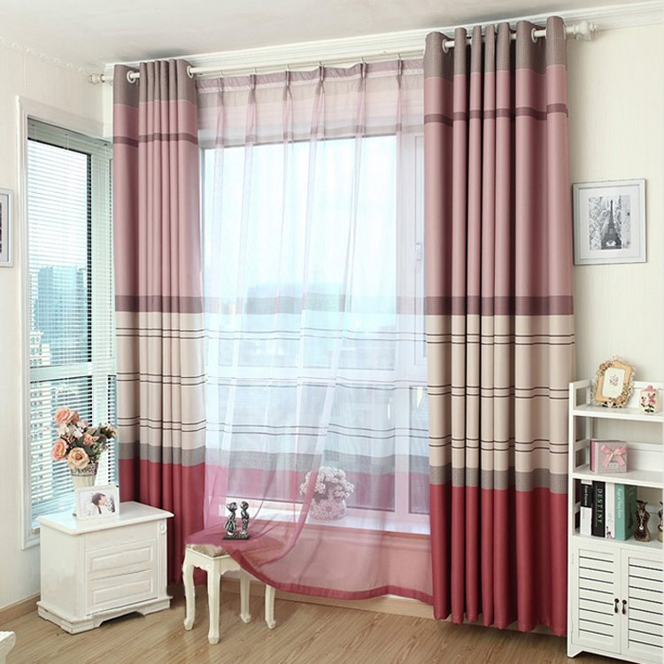 Modern Home Fashion Stripes Print Grommet Top Curtain