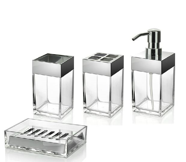 Special organic clear glass 4 piece bathroom accessory for Clear bathroom accessories