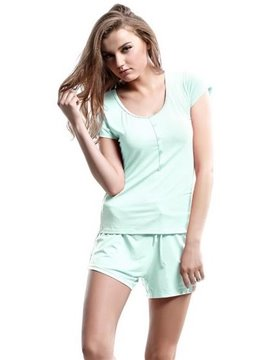 Comfy Concise Chic Buttons Front Short Sleeves Shorts Pajamas