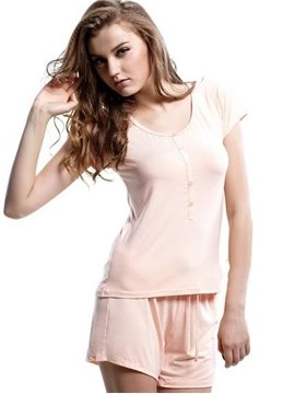 Comfy Concise Short Sleeves Elastic Waist Shorts Pajamas