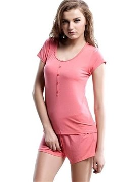 Concise Watermelon Short Sleeves Elastic Waist Shorts Pajamas