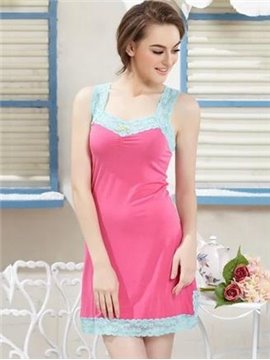 Contra Color Lace Edge Side Open Hem Ruffled Bust Cotton Chemise