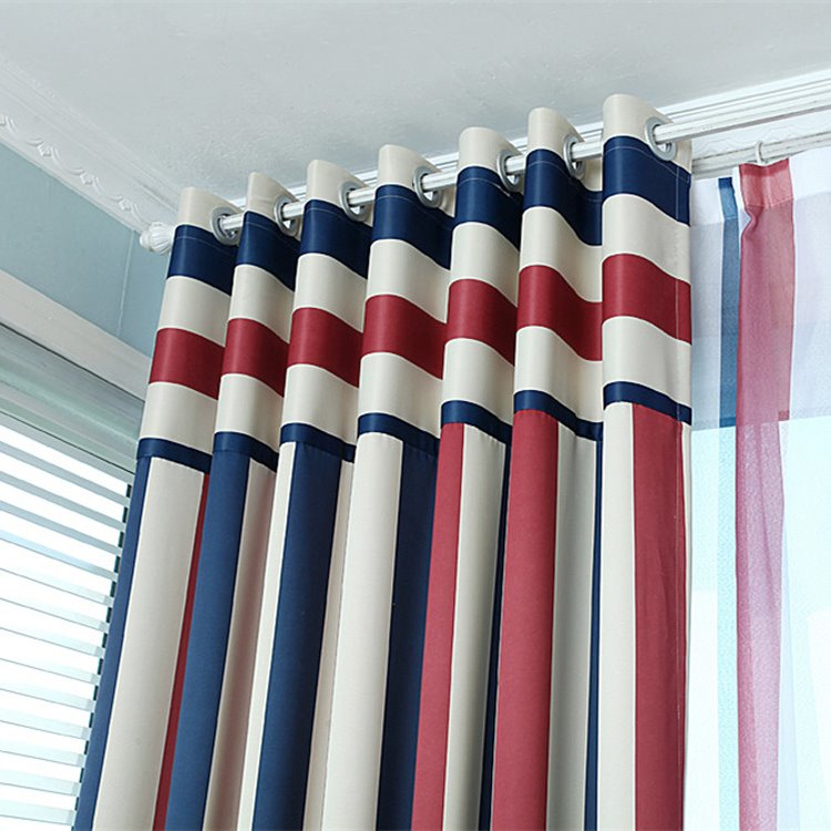 High Quality Stylish Multicolor Scheme Grommet Top Curtain