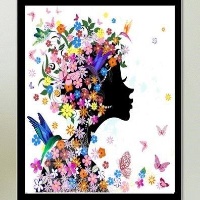 Beautiful Cinderella Flowers 1-Piece DIY Diamond Sticker