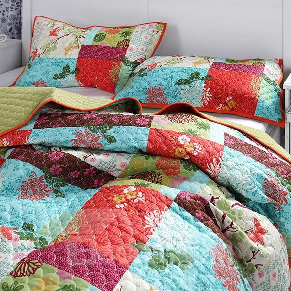 Multicolor with Flowers Printed 100% Cotton Bed in a Bag Set