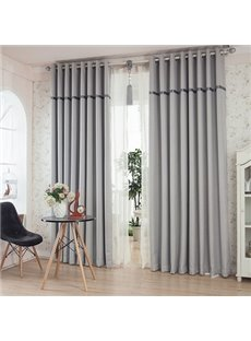 Fashion Gray Color Thickening Blackout Grommet Top Curtain