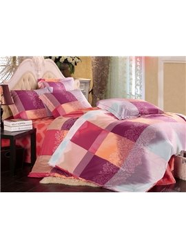 Checkered Pattern 4-Piece Tencel Duvet Cover Sets