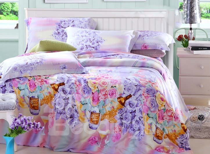Pink And Blue Rose Print 4-Piece Tencel Duvet Cover Sets