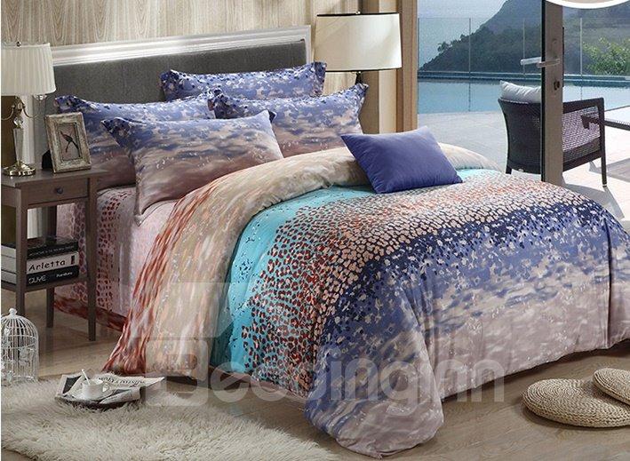 Seaside Scenery Print 4-Piece Tencel Duvet Cover Sets